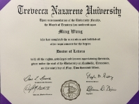 Dr Wang honorary doctorate degree from Trevecca University_2